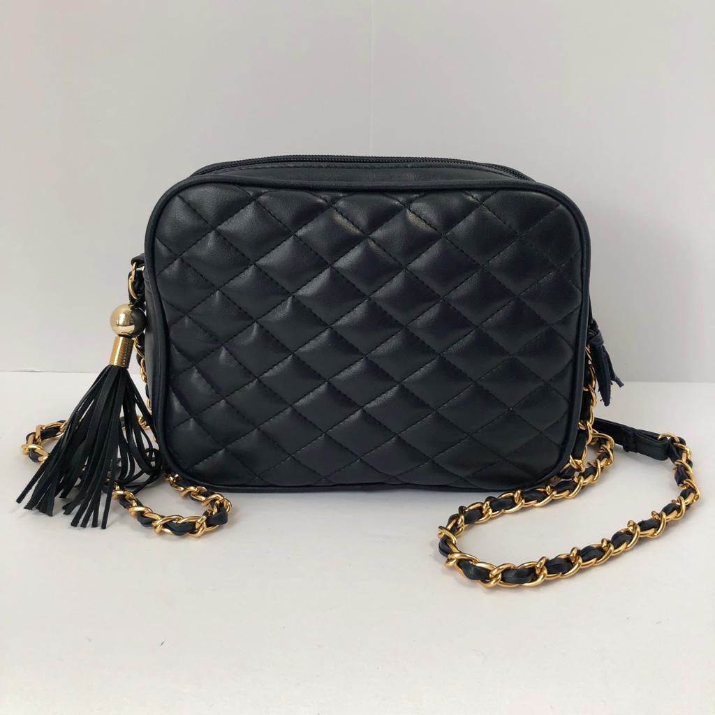 Navy Quilted Cross-Body Bag
