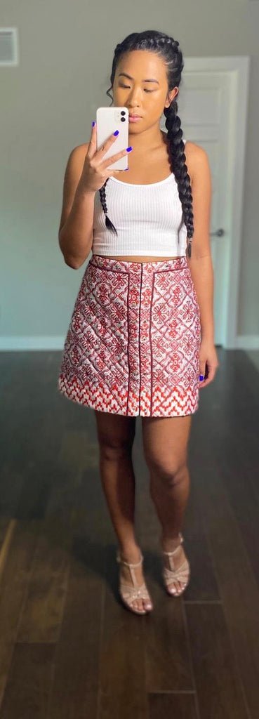 Topshop Red Pattern Jacquard Skirt Size 8