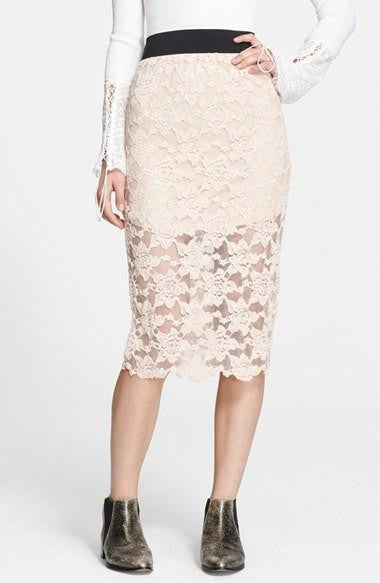 Free People Blush Lace Pencil Skirt Size L