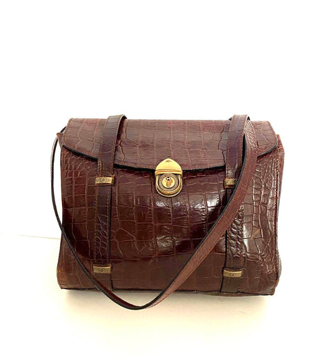 Vintage Brown Embossed Crocodile Skin Leather Bag