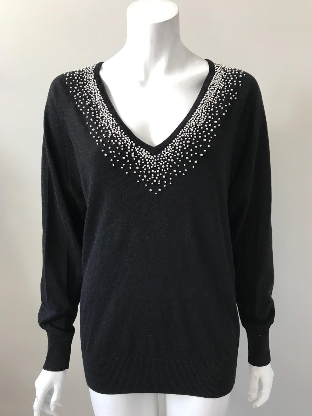 French Connection Black Pearl V-Neck Sweater Size S