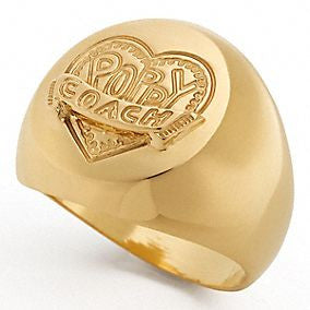 Coach Poppy Signet Gold Plated Ring - Joyce's Closet  - 1