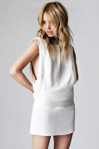 Elin Kling x Guess by Marciano White Silk Embroided Dress Size XS