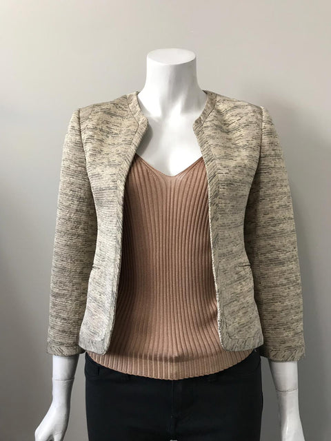 Wilfred Metallic Gold Open Crop Jacket Size 4
