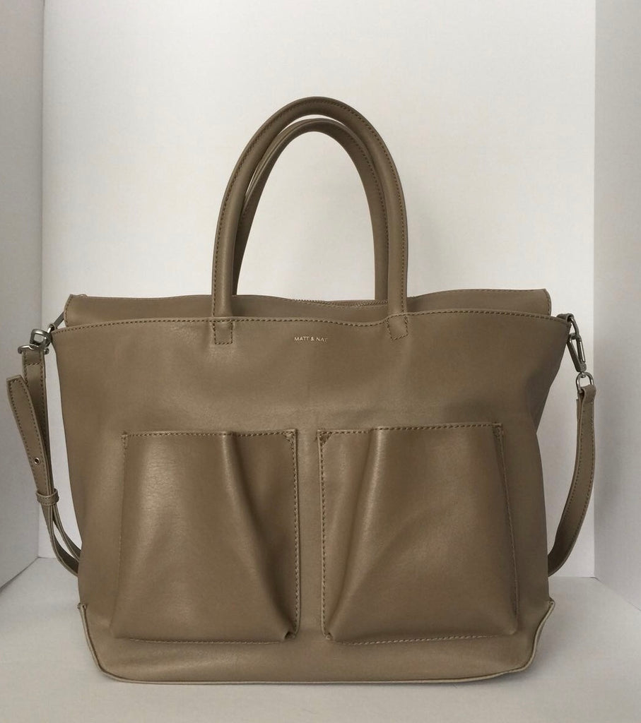 Matt & Nat Taupe Vegan Leather Relan Med Tote