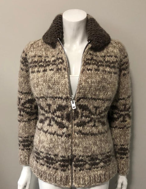 Vintage Brown Cowichan Sweater Size S/M