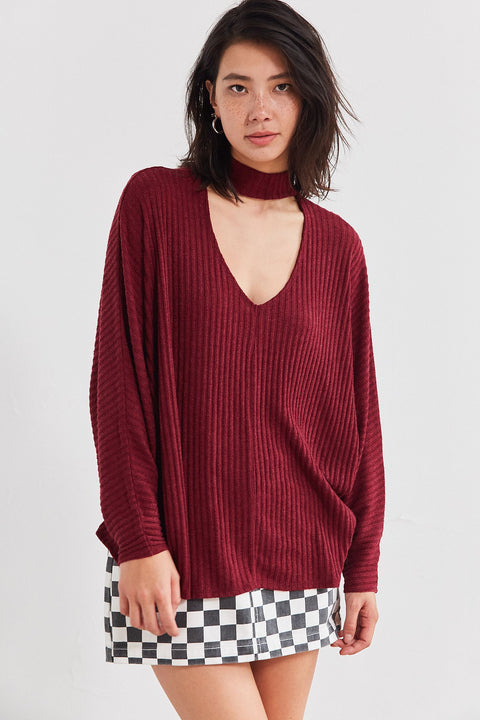 Urban Outfitters Maroon Mock Neck Sweater Blouse Size XS