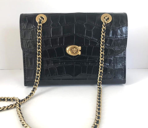 Coach Parker Black Crocodile Embossed Leather Chain Bag