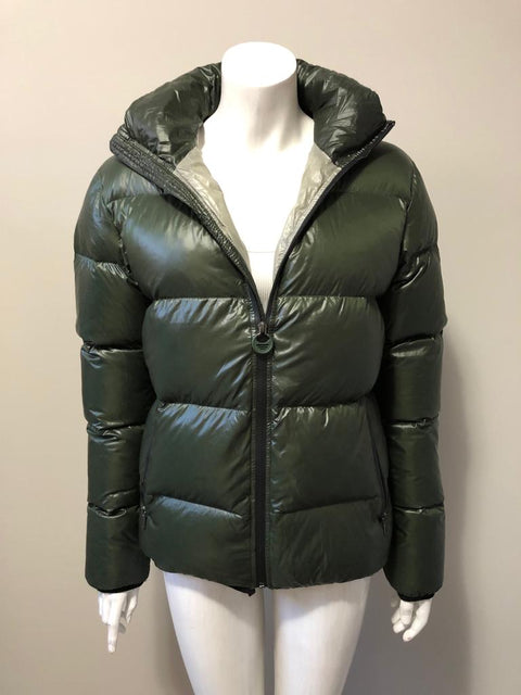 Too Late No More Green Puffer Jacket Size M