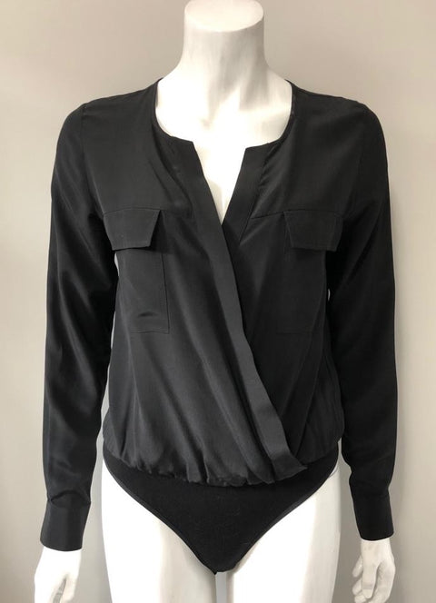 Guess by Marciano Black Silk Bodysuit Size XS