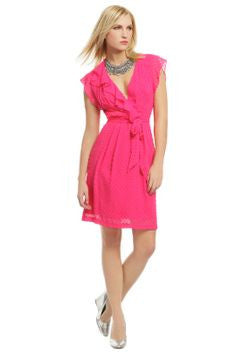 Nanette Lepore Magenta V Neck Ruffle Dress Size 8