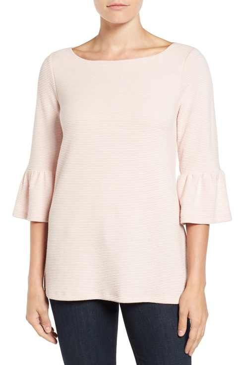 Pleione Light Pink Knit Bell Sleeve Top Size S