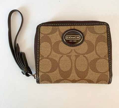 Coach Brown Monogram Bi-Fold Zip Around  Wallet