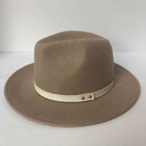 Brand New Club Monaco Beige Wool Felt Hat Size S/M