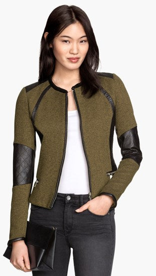 H&M Green & Faux Leather Crop Moto Jacket Size 2