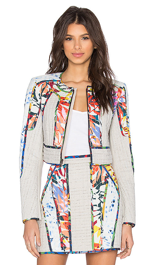 "BCBG Multi Color "" Motley"" Crop Jacket Size XXS"