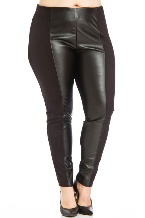Dex Clothing Faux Leather Panel Leggings Size L