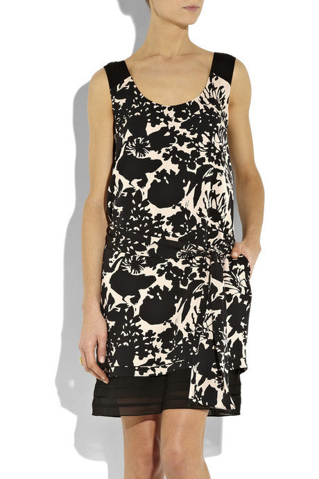 Diane Von Furstenberg Alric Black and Nude Sleeveless Silk Dress - Joyce's Closet  - 1