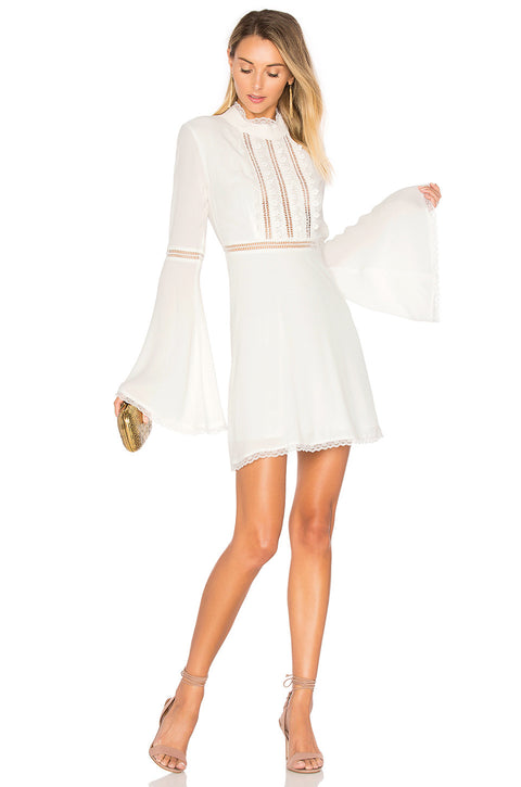 Brand New For Love & Lemons White Bell Sleeves Willow Dress Size S
