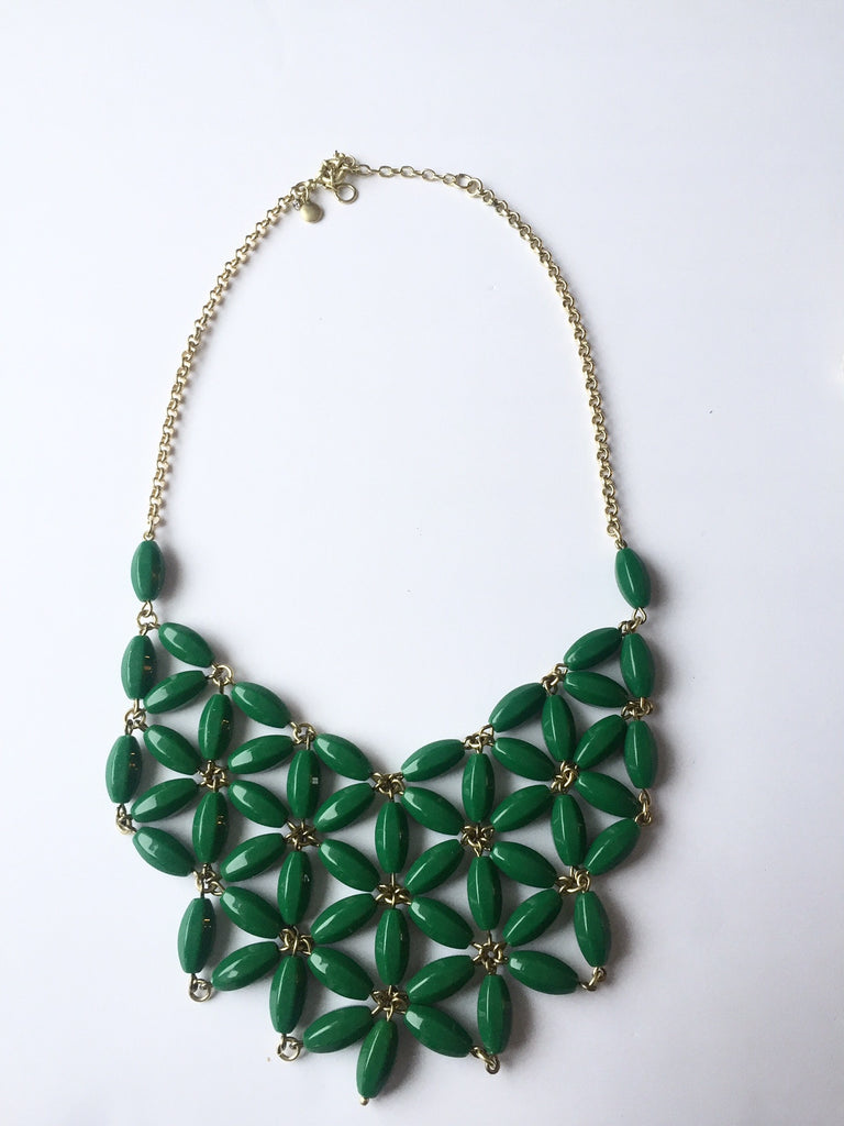 J.Crew Green Statement Bib Necklace