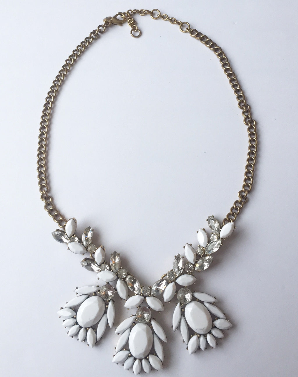 J.Crew White & Clear Crystal Cluster Statement Necklace