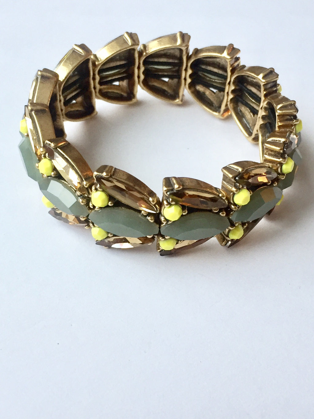 J.Crew Green & Yellow Crystal Bracelet