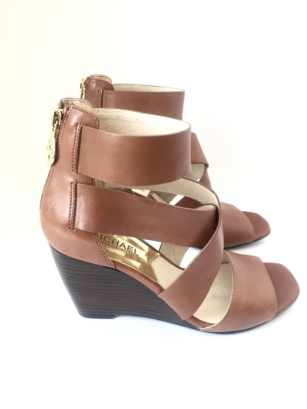 Michael Kors Elena Brown Leather Wedge Sandals Size 6