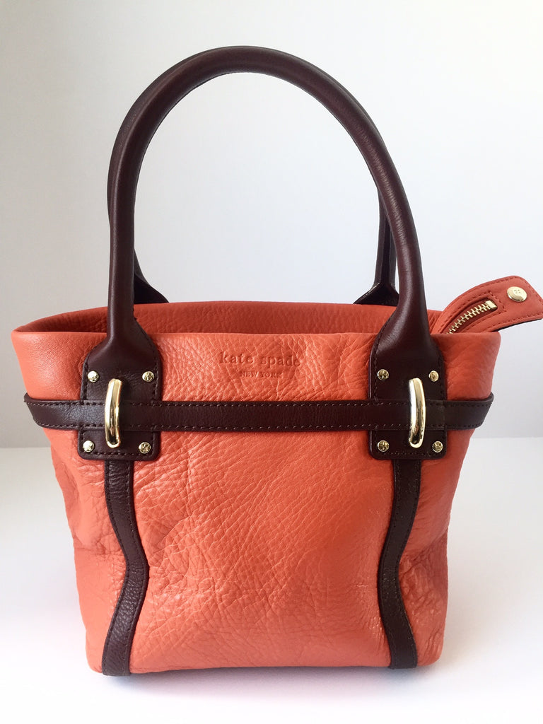 Kate Spade Orange & Brown Small Pebbled Leather Tote