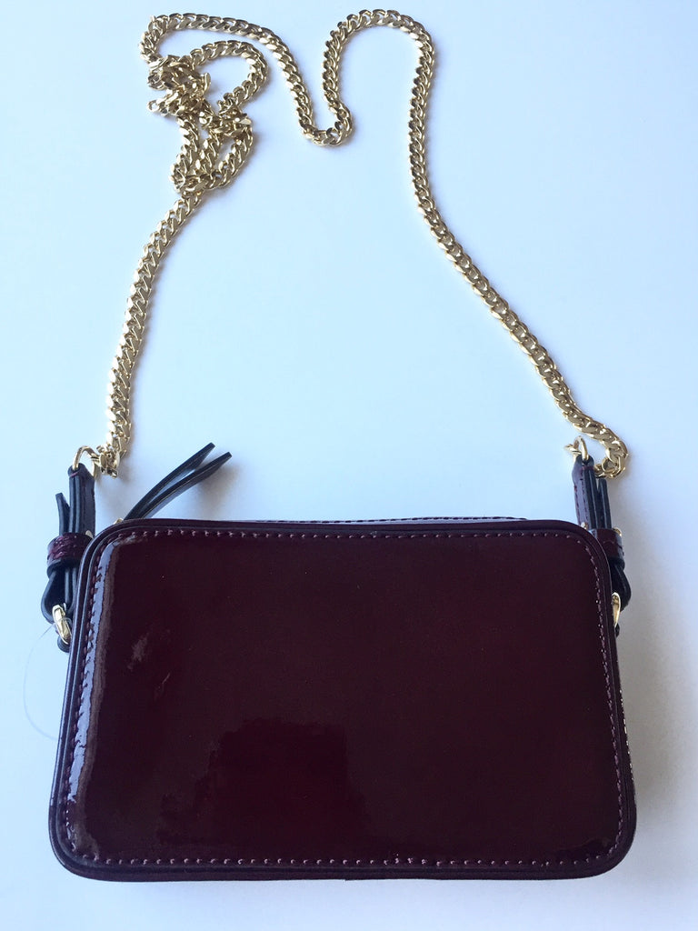 Banana Republic Merlot Patent Vegan Leather Chain Bag