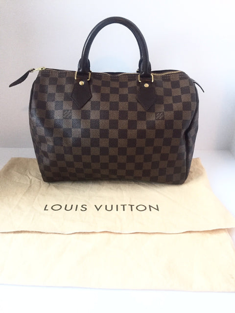 Louis Vuitton Damier Ebene Speedy 30 Canvas Handbag