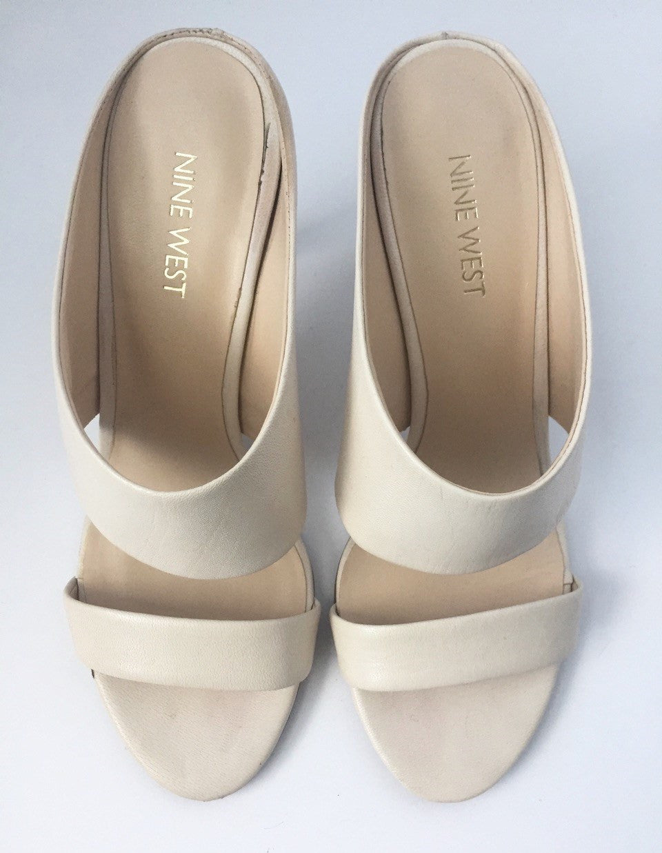 Nine West Cream Leather Open Toe Mule Sandals Size 7