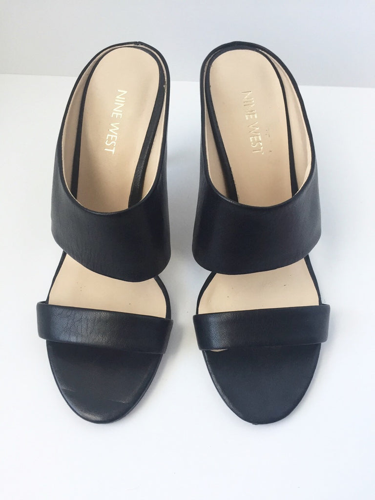 Nine West Black Leather Open Toe Mule Sandals Size 7