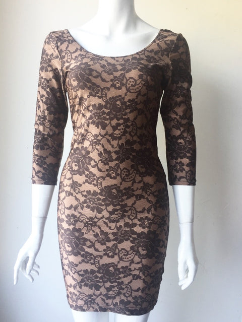 American Apparel Nude & Black Lace Print Dress Size L