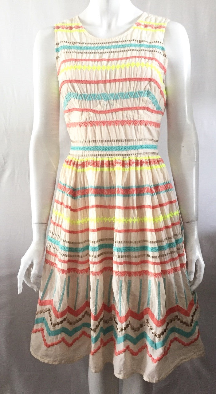Plenty By Tracy Reese Cream & Multi-Color Dress Size S