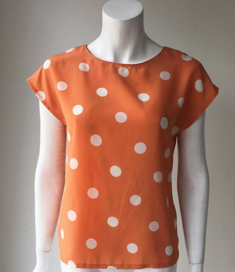 Vintage La Daphne Italy Orange Silk Polka Dot Blouse Size S