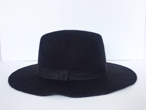 Vintage Wool Black Felted Hat