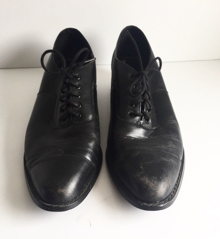 Vintage Black Almond Roe Lace Up Shoes Size 8.5