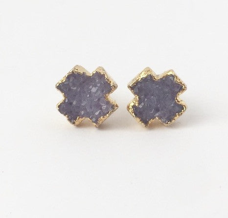 Gold Plated Lavender Druzy X Earring