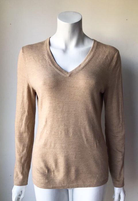Lord & Taylor Tan V-Neck Sweater Size M