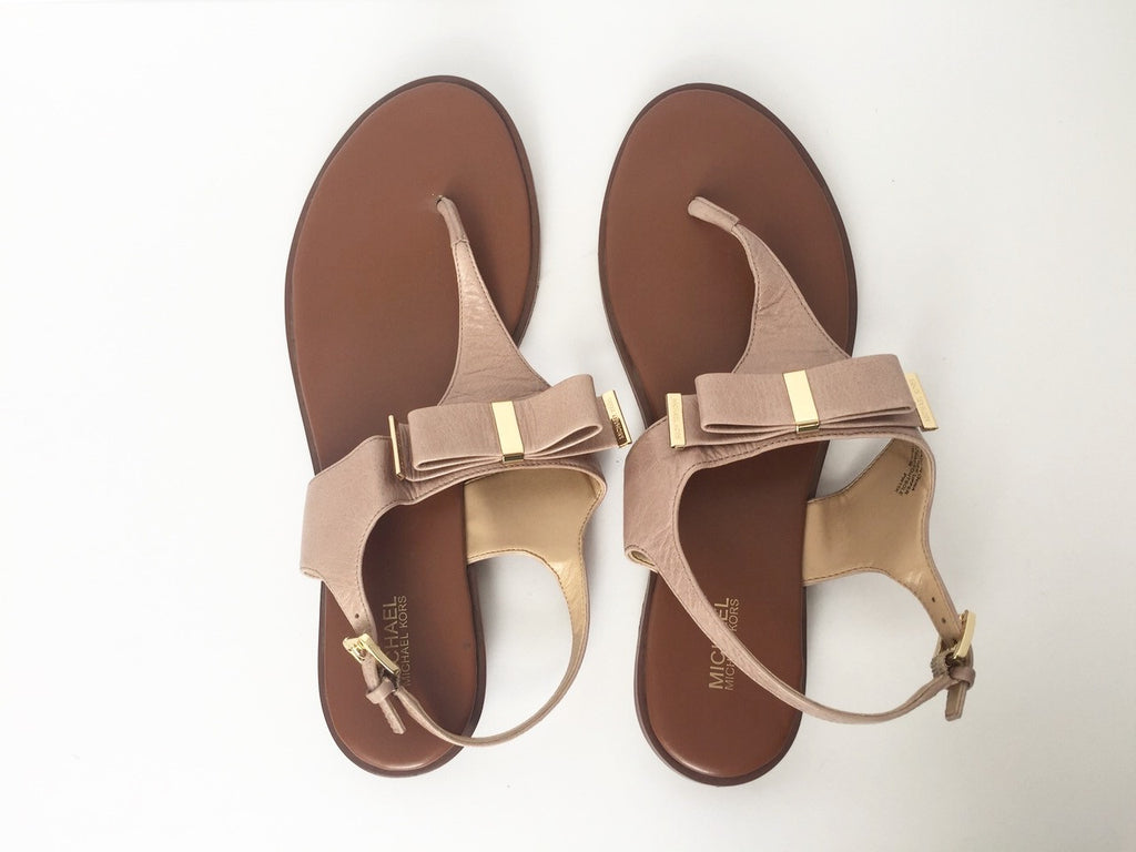 Michael Kors Meg Nude Leather bow Thong Sandals Size 11