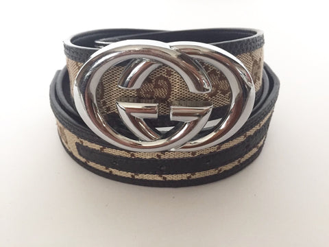 Gucci Brown Monogram Belt  Unisex Size 125