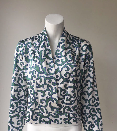 Vintage Silk Green & White Long Sleeve Blouse Size M