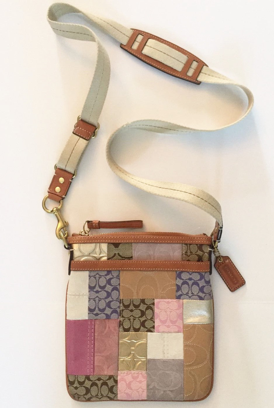 Coach Small Multi-Color Leather & Canvas Patchwork Cross-Body Bag
