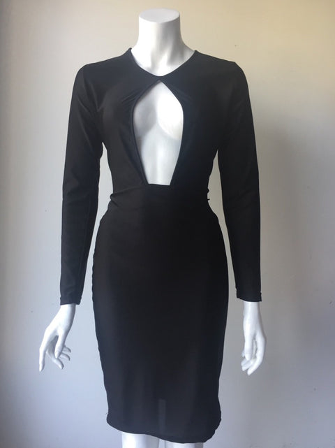Custom Key Hole Black Long Sleeve Bodycon Midi  Dress Size L