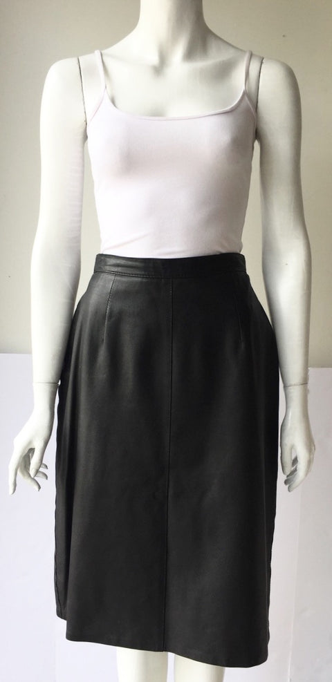Vintage Bagatelle Black Leather Pencil Skirt Size 14