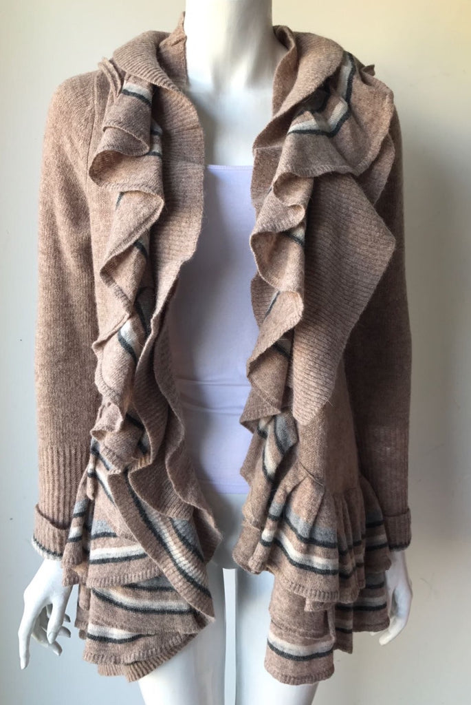 Athropologie Sparraow Taupe Ruffle Sweater Size M