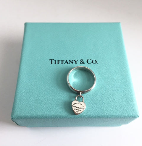 "Tiffany & Co "" Return To Tiffany"" Sterling Silver Heart Tag Ring Size 5.5"