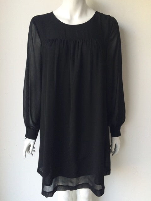 H&M Black Long Sleeve Shift Dress Size 10