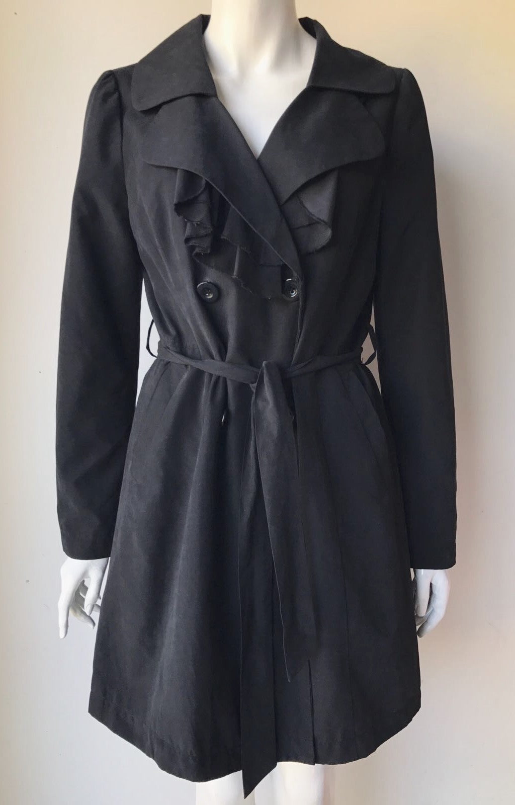 Ambition Black Ruffle Trench Coat Size M