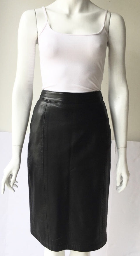Vintage Boutique Of Leathers Black Pencil Skirt Size 0/2